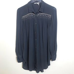 Anthropologie Floreat Beaded Button Up Shirt